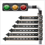 Road And Street With Traffic Light Sign Spiral Arrow tag Infogra Stock Image