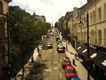Road. Street view with parked cars Stock Photo