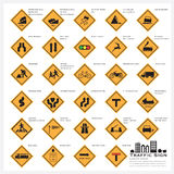 Road And Street Warning Traffic Sign Icons Set Stock Photo