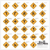 Road And Street Warning Traffic Sign Icons Set Royalty Free Stock Photography