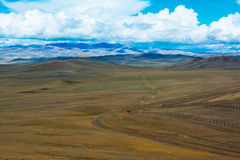 Road stretches into the distance across the steppe royalty free stock image