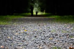 The road is strewn with small stones stock images