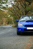 On the Road - Subaru Impreza. Picture of Sports Car - Subaru Impreza on the Road - Concept of GT Vehicle stock images