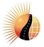 Road sun and globe logo vector. Concept of environment business card design. Illustration Stock Images