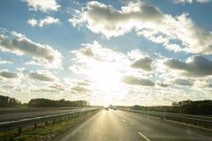 Road sun and sky royalty free stock photos