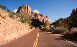 Road Sunrise High Mountain Buttes Zion National Park Desert Stock Photography