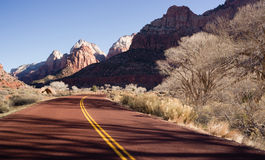 Road Sunrise High Mountain Buttes Zion National Park Desert Stock Photo