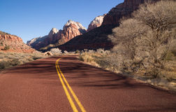 Road Sunrise High Mountain Buttes Zion National Park Desert Southwest Stock Photo