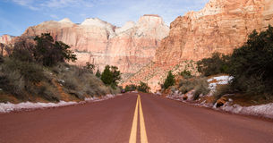 Road Sunrise High Mountain Buttes Zion National Park Desert Southwest Royalty Free Stock Image