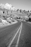 Road Sunrise High Mountain Buttes Zion National Park Desert Soutwest Stock Photo