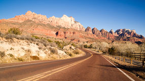 Road Sunrise High Mountain Buttes Zion National Park Desert SW Stock Images