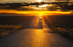 Road at sunset Stock Images