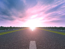 Road and sunset Stock Images
