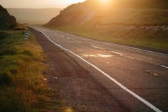 Road at sunset, Armenia Royalty Free Stock Photos