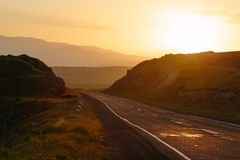 Road at sunset, Armenia Royalty Free Stock Photo