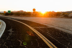 Road and sunset Royalty Free Stock Photos