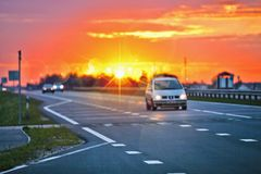 Road at sunset Royalty Free Stock Images