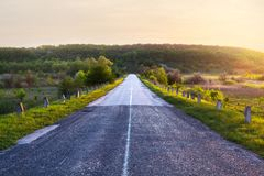 Road at sunset. Summer. Travels. Landscape Recreation Royalty Free Stock Photography