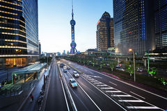 Road in sunset time, Shanghai Stock Image