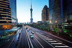 Road in sunset time, Shanghai Royalty Free Stock Image