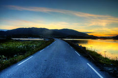 Road in sunset in western Norway Stock Images