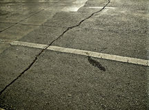 Road surface is broken Royalty Free Stock Photos