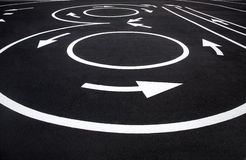 Road surface marking. Photography of road markings and traffic symbol on surface road stock images