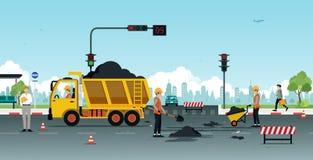 Road surface repair Stock Photos