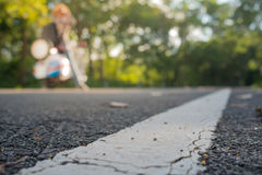 The road surface is the starting. The road surface is the starting point of the journey Stock Photography