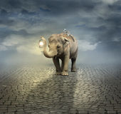 On the road. Surreal artistic illustration with an elephant carrying a lemur on its back and a lantern with its trunk Stock Photography