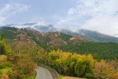 Road surrounded by beautiful mountain and nature during Spring  Stock Photography