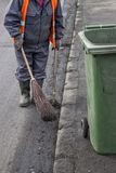 Road sweeper with brown  and shovel Royalty Free Stock Images