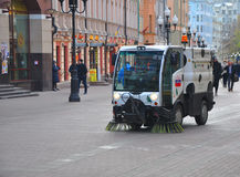 Road sweeper Bucher CityCat 2020 to Old Arbat street. Moscow, Russia. Sweeper on a pedestrian street Stock Image