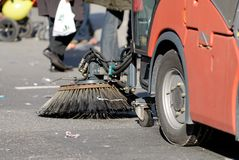 Road sweeper car. A cleaning car in a street in berlin royalty free stock image