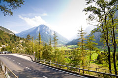Road in Swiss Alps Royalty Free Stock Image