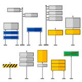 Road symbols traffic signs graphic elements isolated city construction creative street highway information vector Royalty Free Stock Photo