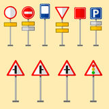 Road symbols traffic signs graphic elements isolated city construction creative street highway information vector Royalty Free Stock Photos