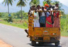 Road in Tamil Nadu, India. Passengers in a van in Tamil Nadu province, South India, close to the city of Trichy. Image taken on September 2nd, 2008 Stock Photo