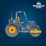Road tandem roller icon with mechanical details Stock Photography