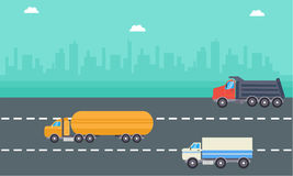 Road tanker delivery and drump truck landscape. Vector flat Royalty Free Stock Image