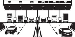 Road tax checkpoint on highway. Vector illustration vector illustration