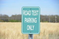 Road Test at Driver License Center DMV. A road test sign at a driver license center for the driving portion of the driver license testing at the DMV or Stock Image