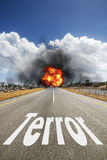 Road with text TERROR Stock Image