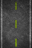 Road texture with two white stripes and dashed yellow stripe Royalty Free Stock Photography