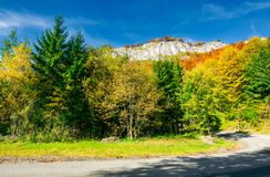 Road though forest in to the mountain. Rocky cliff hang over the way. lovely autumn scenery royalty free stock photos