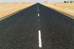 Road thru the Sahara desert in Sudan Royalty Free Stock Photography