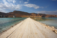 The road in a thunderstorm at the Dead Sea Stock Images