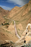 Road into Tibet. Twisting mountain road from Xinjang province in China to Western Tibet Royalty Free Stock Images