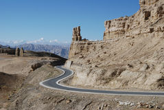 Road in Tibet. The road  from  Lhasa to West-Tibet's Ali  district, or China's 219 national road Royalty Free Stock Photo