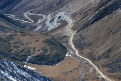 Road in Tibet. Hard country road in Tibet Stock Photo